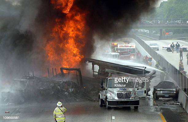 15 Oil Truck Fire And Nine Car Accident On Sunrise Highway In