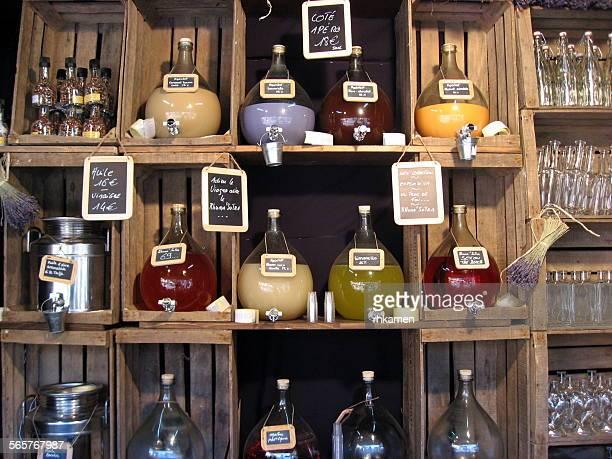 oil, vinegar and aperitfs, greneble, france - grenoble stockfoto's en -beelden
