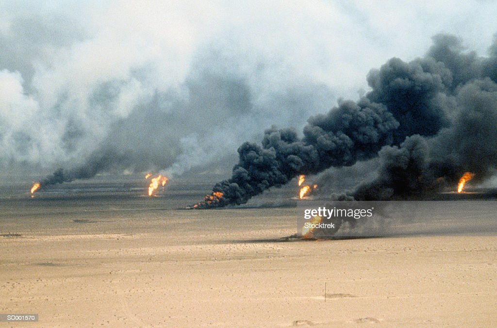 Oil Well Fires in Kuwait : Stock Photo