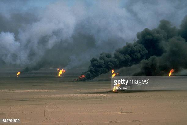 Oil well fires rage outside Kuwait City in the aftermath of Operation Desert Storm The wells were set on fire by Iraqi forces before they were ousted...