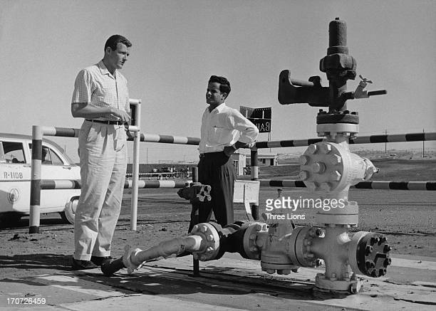 Oil Well Number 1 the first oil well on the Arabian side of the Persian Gulf near Jebel Dukhan in Bahrain circa 1955 The well which first has been...