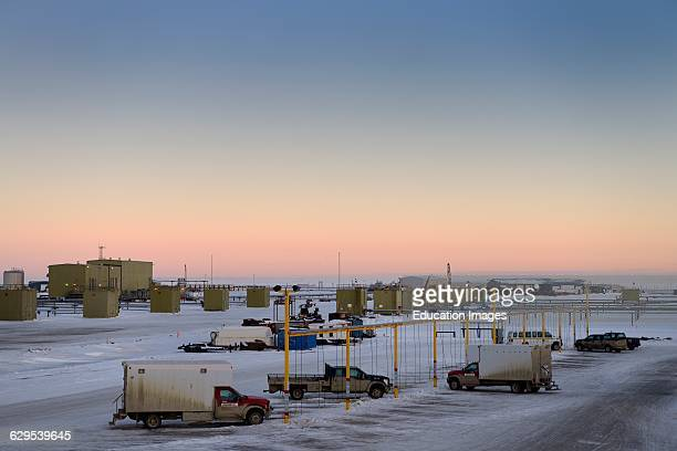 Oil wells and truck charging station at dawn in Deadhorse Prudhoe Bay Beaufort Sea Arctic Ocean Alaska