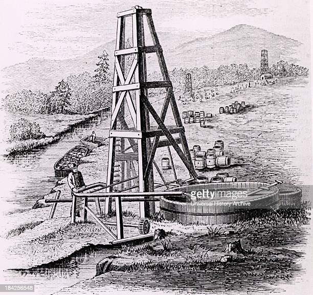Oil wells at Oil Creek 150 miles up the Allegheny River from Pittsburgh Pennsylvania USA Engraving from 'The Practical Dictionary of Mechanics'...