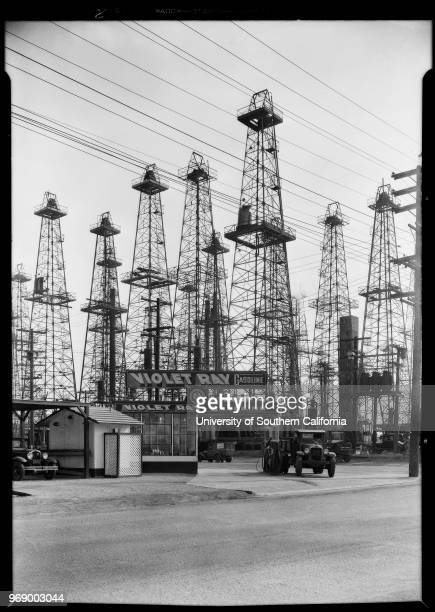 Oil wells for book cover Santa Fe springs Southern California 1930