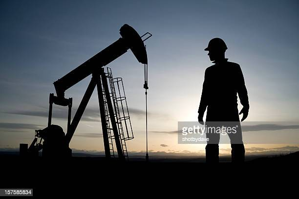 Oil Worker and Pumpjack