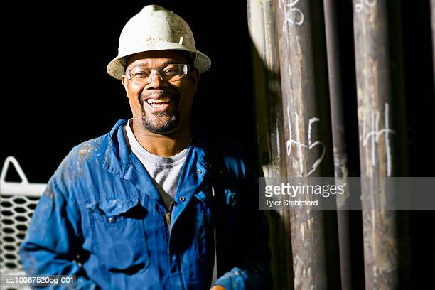 Oil worker laughing, portrait