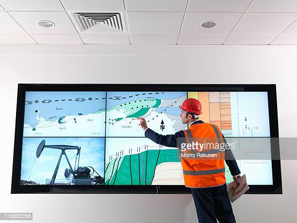 Oil worker with geology screen