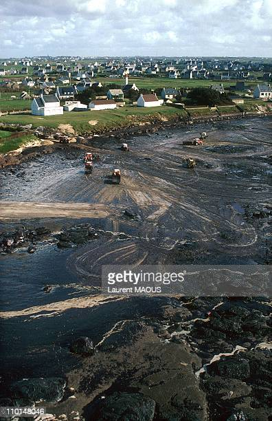 Oil-covered coast due to the sinking of the Amoco Cadiz in Portsall, France in March, 1978.