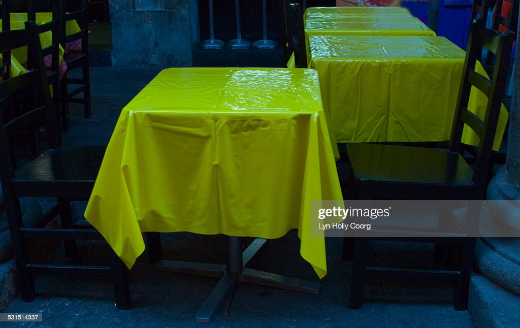 Oiled tablecloths in Spanish restaurant : Stock Photo