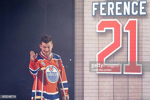 Oilers defenceman Andrew Ference is introduced during the closing ceremonies at Rexall Place following the game between the Edmonton Oilers and the...