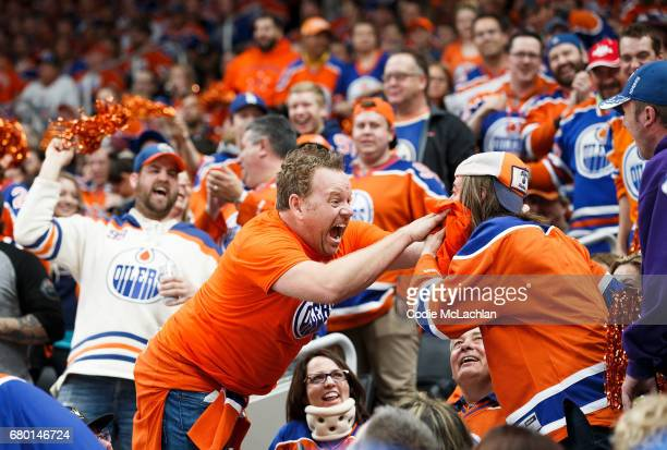Oilers fans get into the playoffs spirit as the Edmonton Oilers take on the Anaheim Ducks in Game Six of the Western Conference Second Round during...