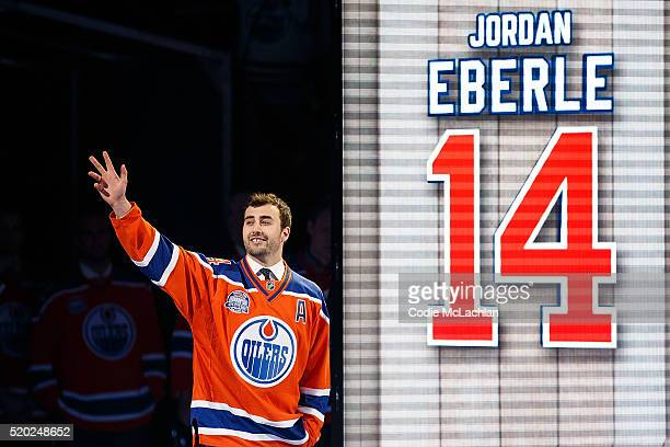 Oilers forward Jordan Eberle is introduced during the closing ceremonies at Rexall Place following the game between the Edmonton Oilers and the...