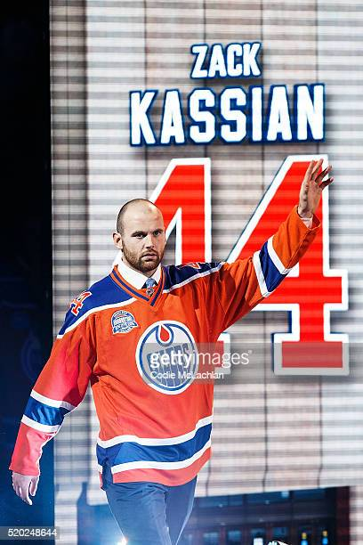 Oilers forward Zack Kassian is introduced during the closing ceremonies at Rexall Place following the game between the Edmonton Oilers and the...