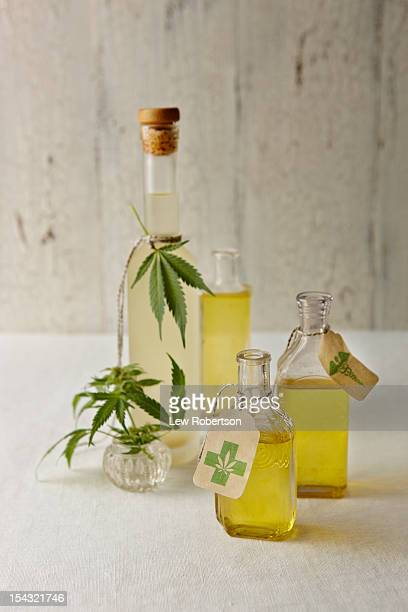oils infused with marijuana - cannabis oil stock photos and pictures