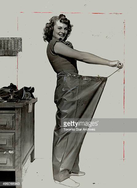 Oilskin firefighting pants would cover a couple of girls like Vera House trying these on but they would be just right for fishermen The Toronto...