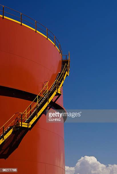 oiltank with stairs - storage tank stock photos and pictures