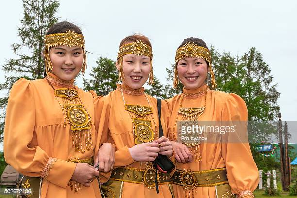 Oimyakon's Girls in festive national costumes
