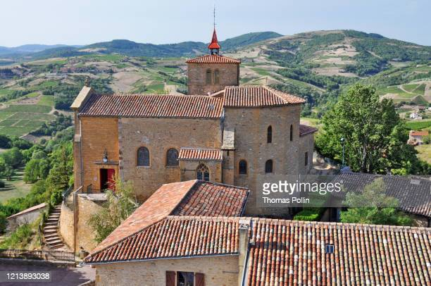 oingt church - auvergne rhône alpes stock pictures, royalty-free photos & images