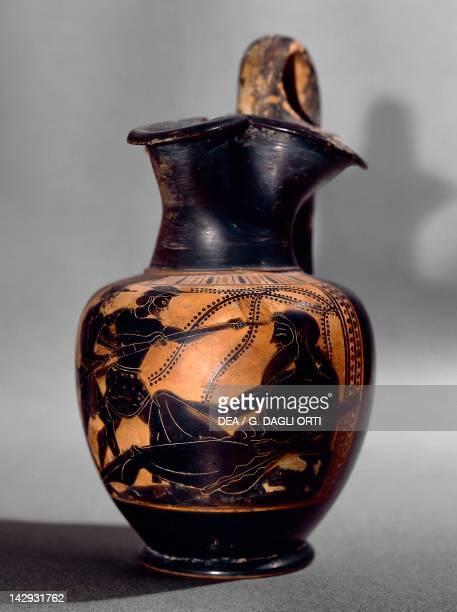 Oinochoe showing a scene depicting Ulysses blinding Polyphemus blackfigure pottery Greek Civilization 5th Century BC Paris Musée Du Louvre