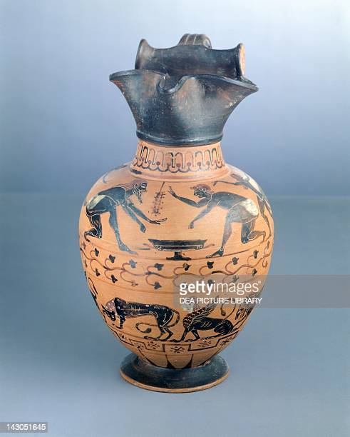 Oinochoe with handle and trefoilshaped mouth attributed to the Painter of Bibliotheque Nationale Blackfigure pottery from Vulci Etruscan Civilisation...