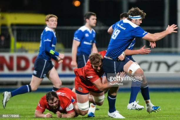 Oisin Dowling from Leinster 'A' team in action tackled by Joe Batley from Bristol Rugby during the British amp Irish Cup rugby match at Donnybrook...