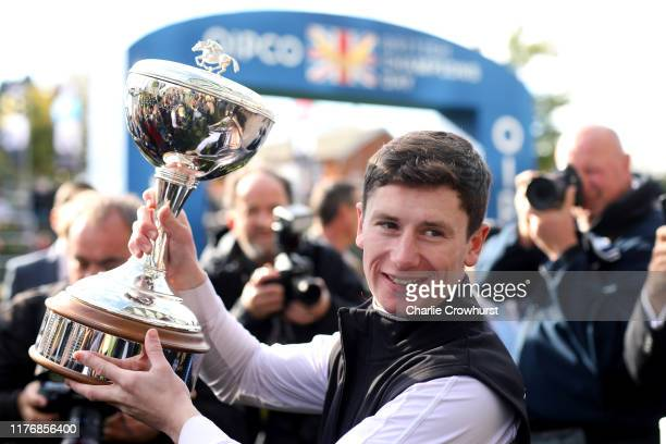 Oisin Murphy celebrates after being crowned the 2019 Champion Flat Jockey during the QIPCO British Champions Day at Ascot Racecourse on October 19,...