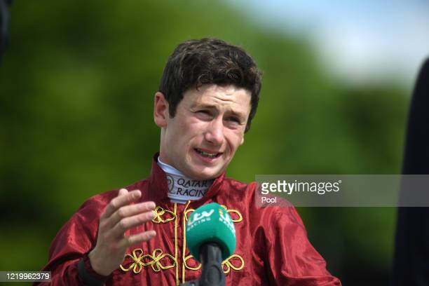 Oisin Murphy is interviewed by ITV as he awaits to hear the result of stewards enquiry in the Coral Shops Reopen Tomorrow in England Handicap at...