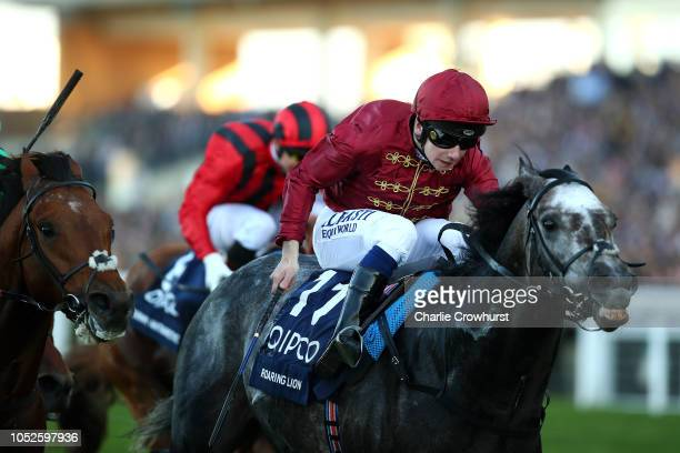 Oisin Murphy rides Roaring Lion to win The Queen Elizabeth II Stakes during QIPCO British Champions Day at Ascot Racecourse on October 20 2018 in...