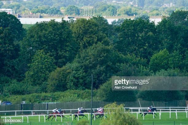 Oisin Murphy riding Arenas Del Tiempo lead all the way to win The Twickenham Fillies' Handicap at Sandown Park Racecourse on July 22, 2021 in Esher,...