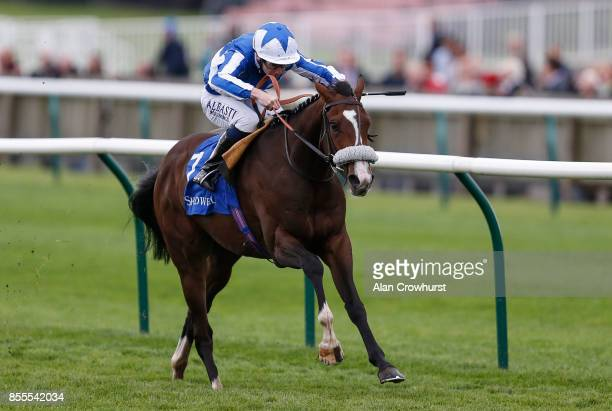 Oisin Murphy riding Beat The Bank win The Shadwell Joel Stakes at Newmarket racecourse on September 29 2017 in Newmarket United Kingdom