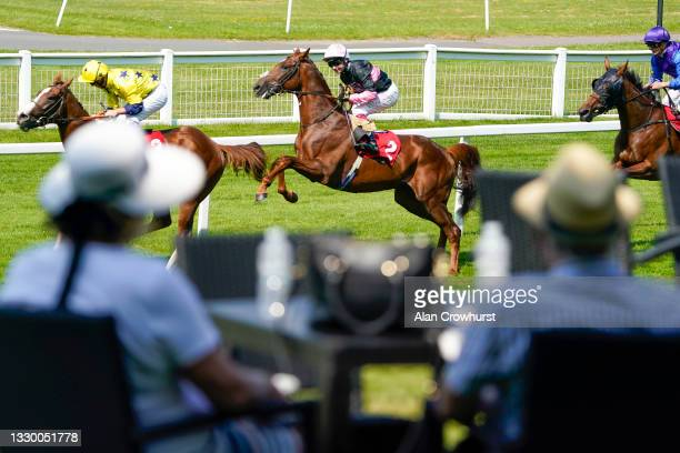 Oisin Murphy riding Classic Lord do a bunny hop on their way to winning The Young Stayers Handicap as racegoers watch on at Sandown Park Racecourse...