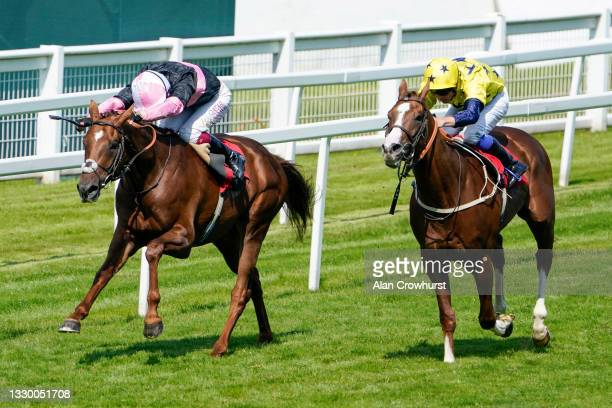 Oisin Murphy riding Classic Lord win The Young Stayers Handicap at Sandown Park Racecourse on July 22, 2021 in Esher, England.