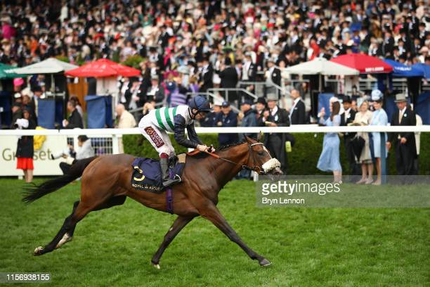 Oisin Murphy riding Dashing Willoughby crosses the line to win The Queen's Vase on day two of Royal Ascot at Ascot Racecourse on June 19, 2019 in...