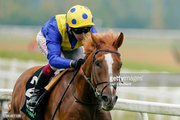 Oisin Murphy riding Dream of Dreams win The Unibet Hungerford Stakes at Newbury Racecourse on August 15, 2020 in Newbury, England. Owners are allowed...