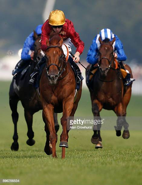 Oisin Murphy riding Lightning Spear win The Doom Bar Celebration Mile at Goodwood on August 27 2016 in Chichester England
