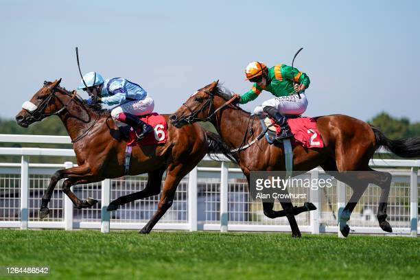 Oisin Murphy riding Recovery Run win The British EBF Maiden Stakes at Sandown Park Racecourse on August 07, 2020 in Esher, England. Owners are...