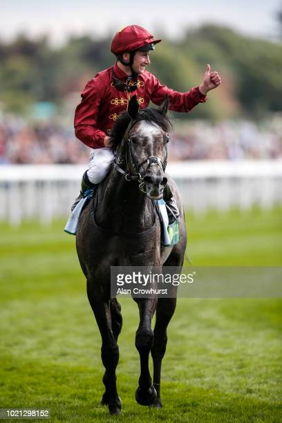 Oisin Murphy riding Roaring Lion after winning The juddmonte International Stakes at York Racecourse on August 22 2018 in York United Kingdom
