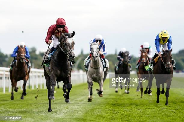Oisin Murphy riding Roaring Lion win The juddmonte International Stakes at York Racecourse on August 22, 2018 in York, United Kingdom.
