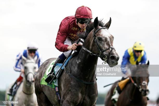 Oisin Murphy riding Roaring Lion win The juddmonte International Stakes at York Racecourse on August 22 2018 in York United Kingdom