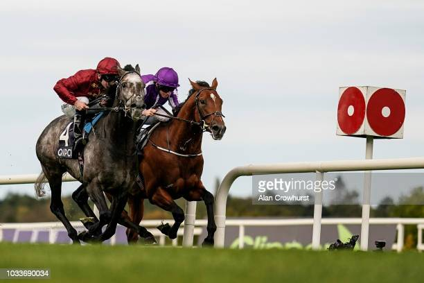Oisin Murphy riding Roaring LIon win The QIPCO Irish Champion Stakes from Ryan Moore and Saxon Warrior at Leopardstown Racecourse on September 15...