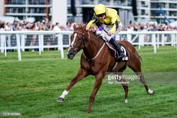 Oisin Murphy riding Shumookhi win The Byerley Stud Stakes at Newbury Racecourse on August 17 2018 in Newbury United Kingdom
