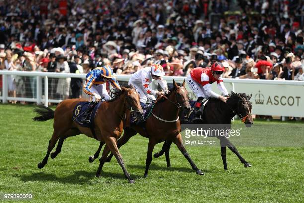 Oisin Murphy riding Signora Cabello crosses the line to win The Queen Mary Stakes on day 2 of Royal Ascot at Ascot Racecourse on June 20, 2018 in...