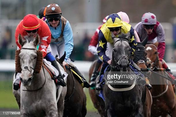 Oisin Murphy riding Technological on their way to winning The Matchbook Casino Handicap at Kempton Park Racecourse on February 06 2019 in Sunbury...