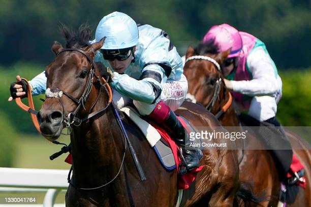 Oisin Murphy riding Zechariah win The Martin Densham Memorial EBF Maiden Stakes at Sandown Park Racecourse on July 22, 2021 in Esher, England.
