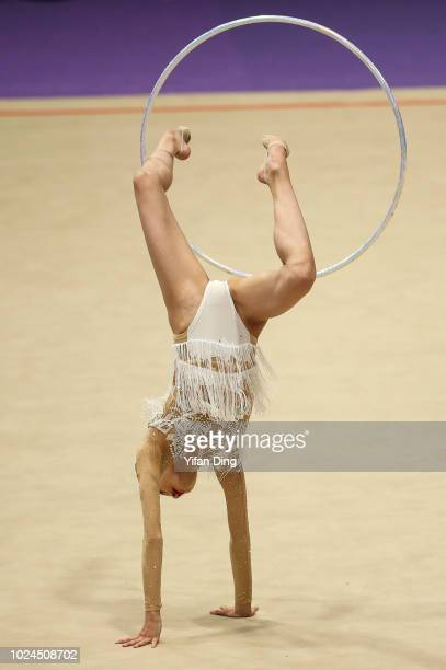 Oiwa Chisaki of Japan competes during Rhythmic Gymnastics Team AllAround final on day nine of the Asian Games on August 27 2018 in Jakarta Indonesia