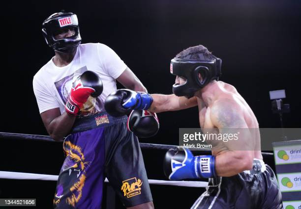 Ojani Noa punches Lamar Odom in the first round during Celebrity Boxing Miami 2021 Lamar Odom vs Ojani Noa at the James L. Knight Center on October...