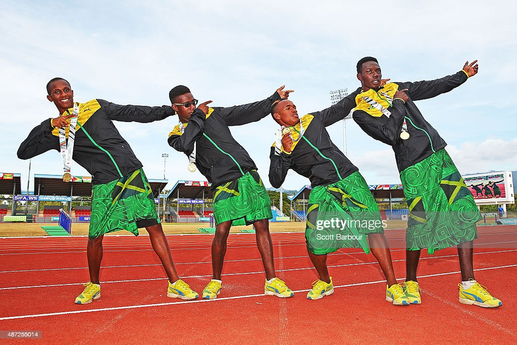 Ojeikere Precious Omokheoa, Itsekiri Usheoritse Ese, Idjesa Uruemu and Adeyemi Sikiru of Nigeria pose with their medals after the medal presentation for the Boys 4x200 Metre Relay during the Athletics at the Apia Park Sports Complex on day two of the Samoa 2015 Commonwealth Youth Games on September 8, 2015 in Apia, Samoa.