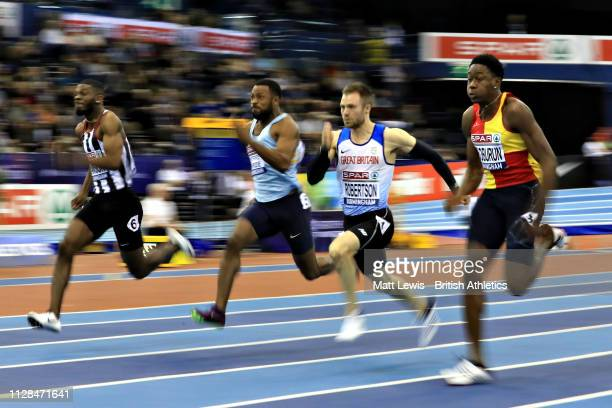 Ojie Edoburun of Great Britain wins in the third semifinal of the Mens 60m during Day One of the SPAR British Athletics Indoor Championships at Arena...
