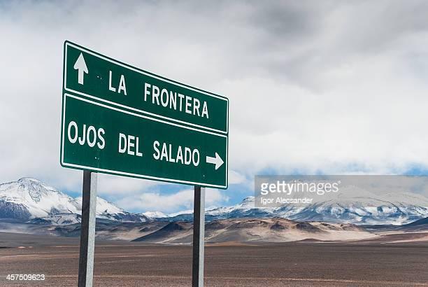 Ojos del Salado Volcano Road Sign