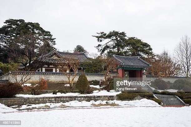 CONTENT] Ojukheon House Korean traditional house A pine grove winter Hanok Ojukheon South Korea Gangneungsi